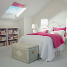 Kid's room with a fixed skylight and pink blinds