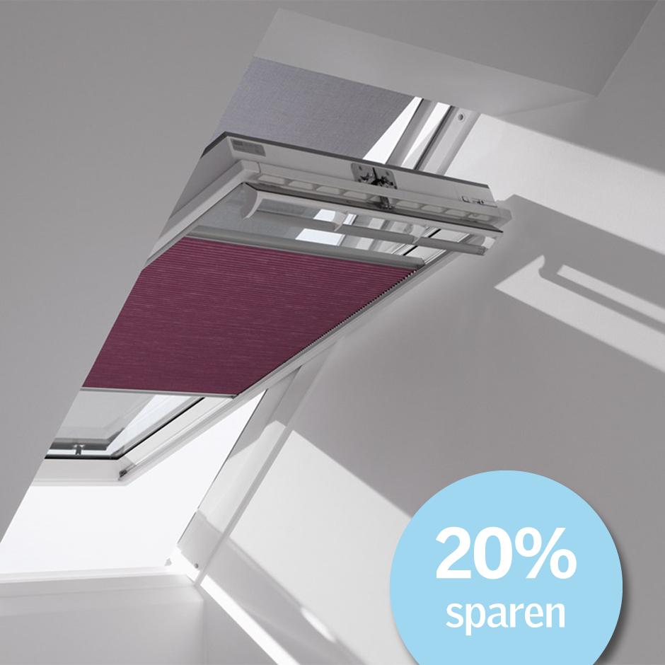 Velux dachfenster rollos jalousien plissees markisetten for Exterieur licht und sichtpaket