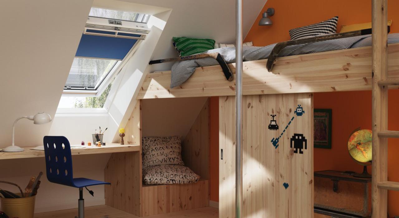 dachausbau ideen für kinderzimmer   velux dachfenster - Ideen Buromobel Design Ersa Arbeitszimmer