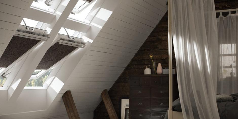 dachausbau ideen f r schlafzimmer velux dachfenster. Black Bedroom Furniture Sets. Home Design Ideas