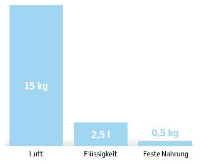 Verbrauch von Luft, Flüssigkeit und feste Nahrung
