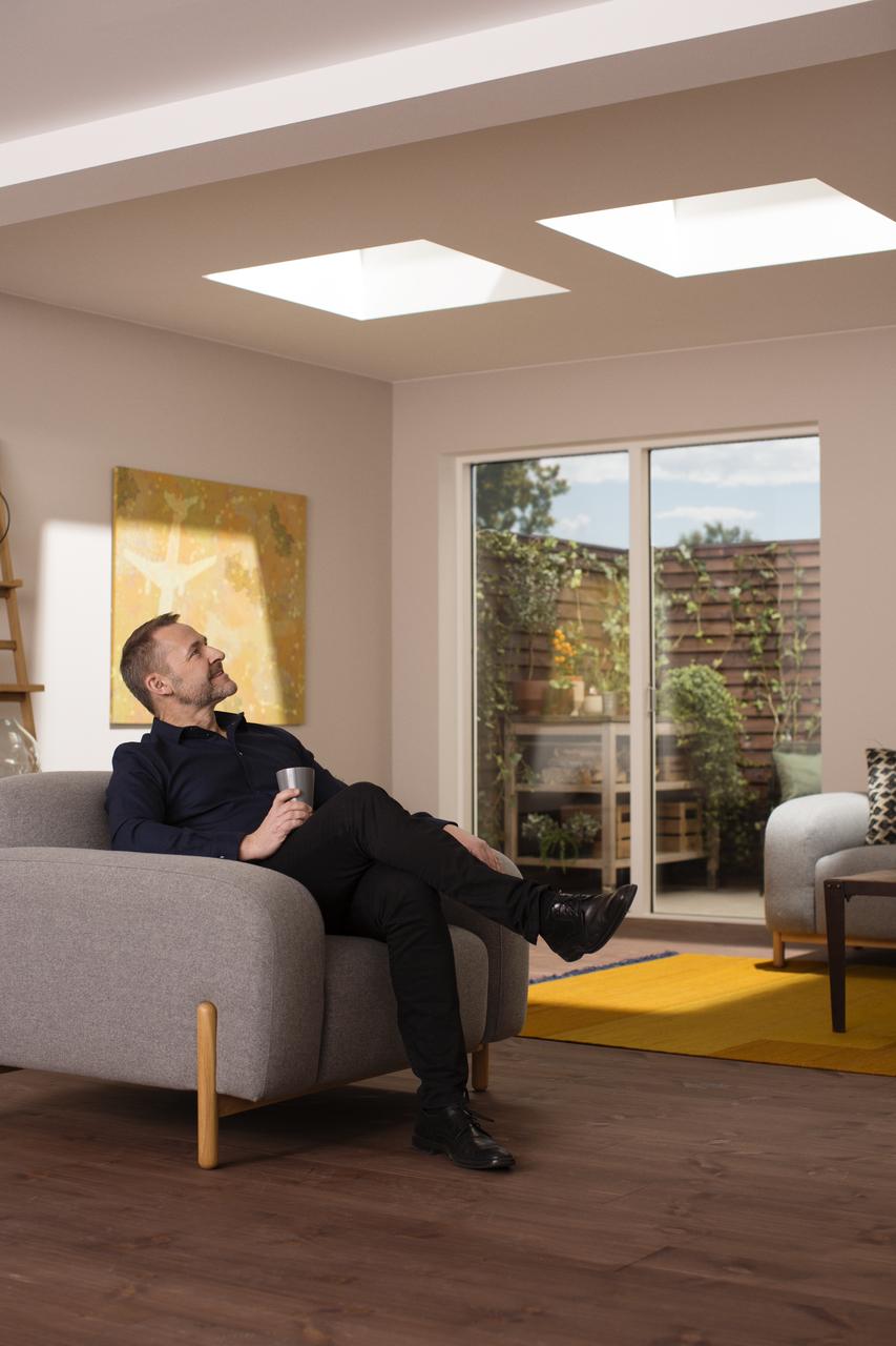 Finestra per tetti piani velux con vetro piano for Velux finestre per tetti piani