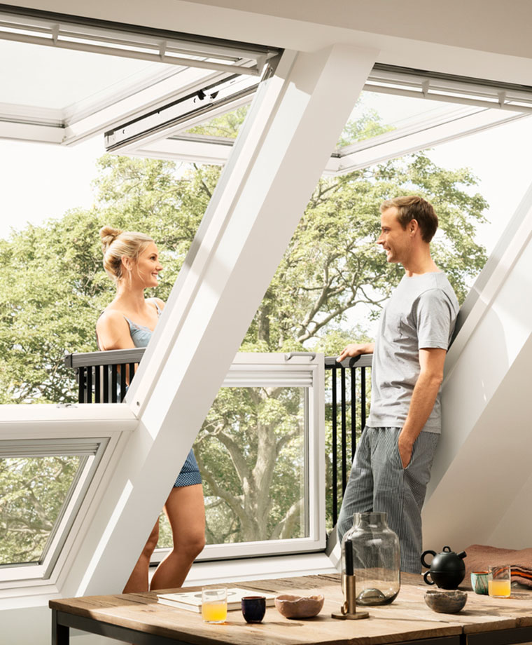 Velux cabrio balcony from roof window to balcony in seconds for Balcony window