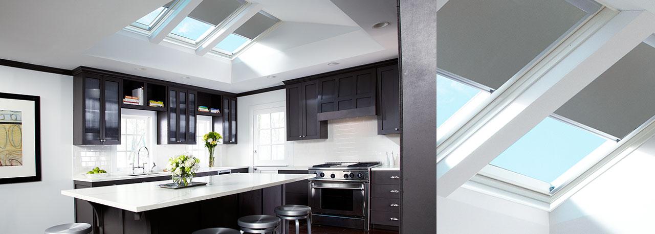 kitchen skylights gray blinds