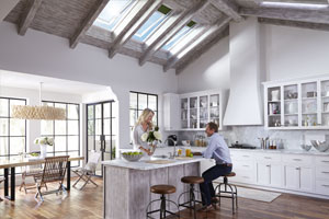 Kitchen Filled With Daylight And Fresh Air From The VELUX Skylights