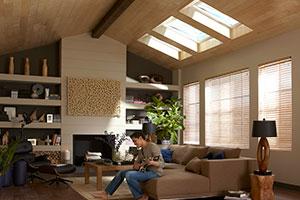 Wonderful Living Room With VELUX Solar Powered Fresh Air Skylights