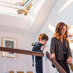 Stairwell brighten with VELUX skylight