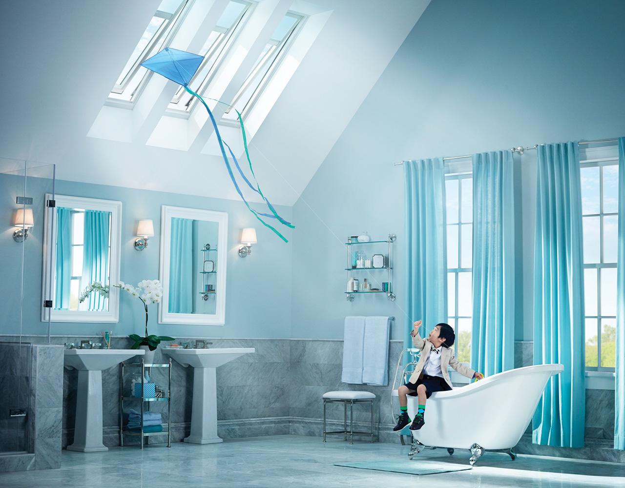 VELUX Bathroom Inspiration Gallery of Images – Skylight in Bathroom