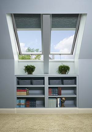 Book shelf under VELUX skylights with blinds