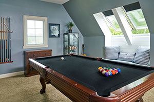 Sarah D's pool table with VELUX skylight and blinds