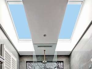 skylights in bathroom with grey interior design in perth