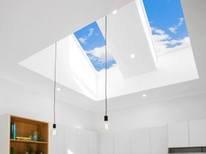 skylights in the kitchen with two lights hanging from the ceiling in melbourne