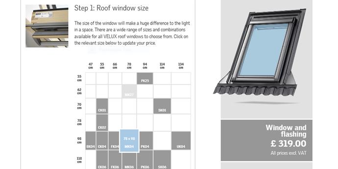 Velux Roof Window Price Calculator