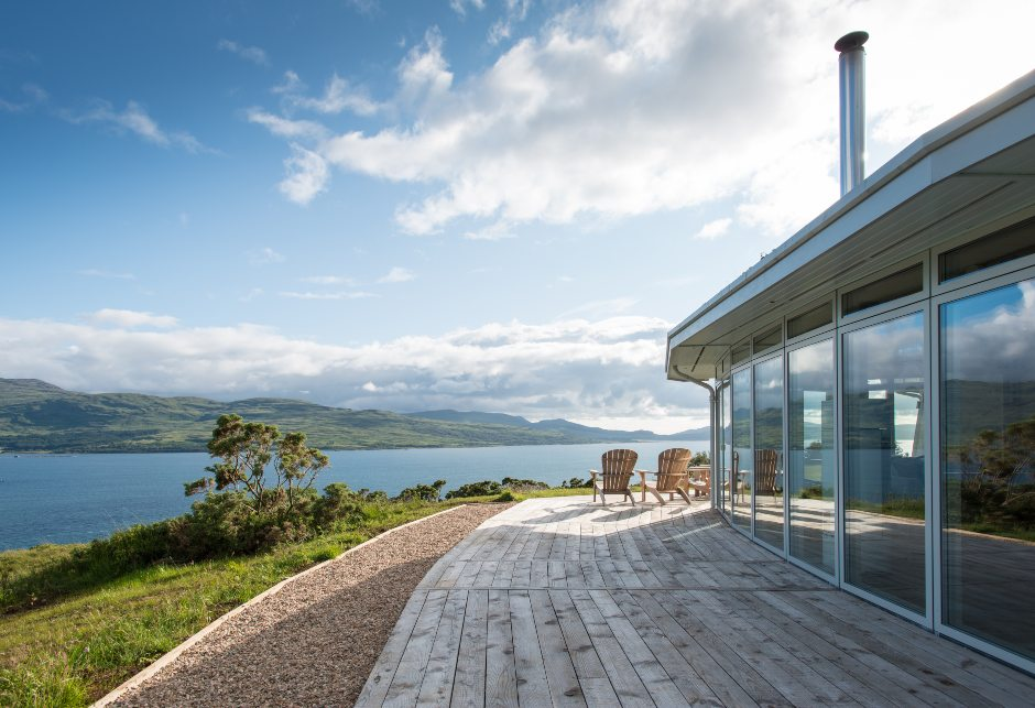 Eagle Rock exterior with waterfront views, self-build home, Sound of Mull