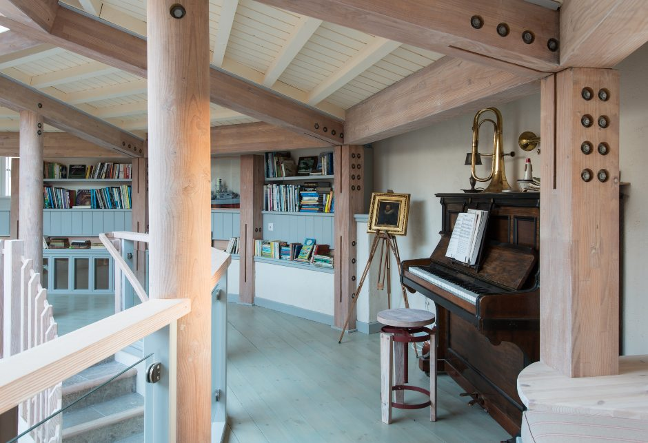 Eagle Rock interior landing area with piano, self-build home, Sound of Mull