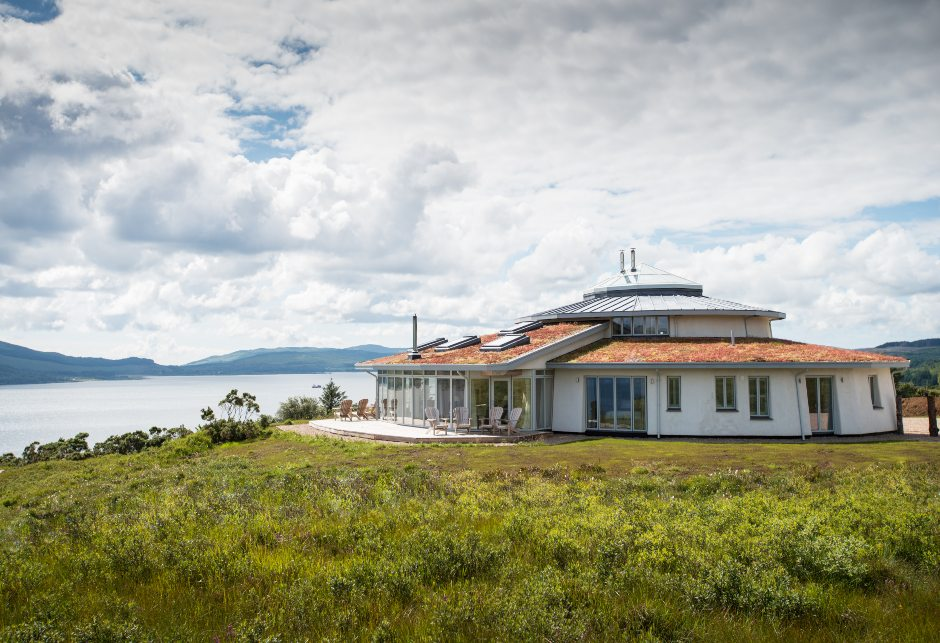 Eagle Rock exterior with mountains and waterfront views, self-build home, Sound of Mull
