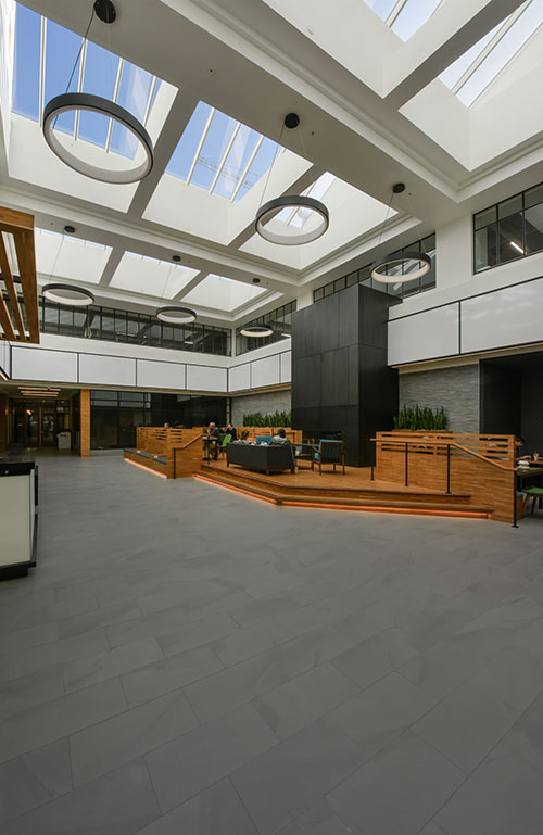 The lobby at The Leamington Hotel has become a focal point for the building's ground floor retail area.