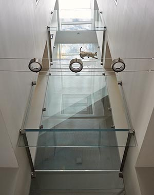 glass hallway cat skylights
