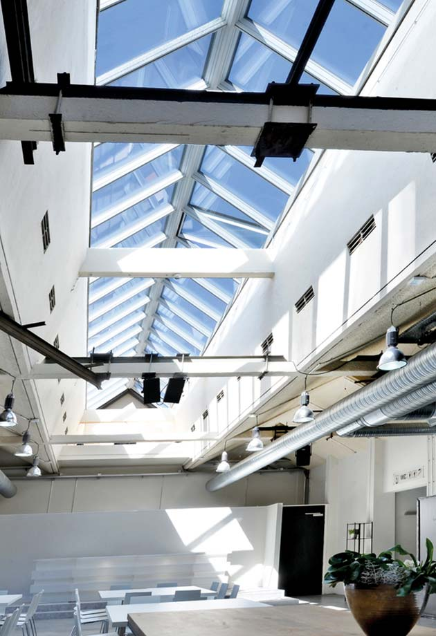 Rooflight solution with Ridgelight 25°-40°, Former textile dye works in the Bobinet quarter, Germany