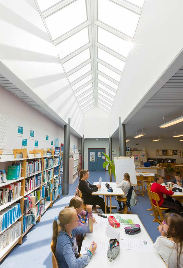 Double glazed skylight solution, interior view, Tomi Ungerer High School