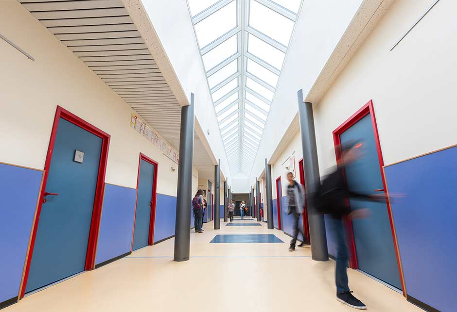 Ridgelight solution enables natural light to enter the Tomi Ungerer High School, France