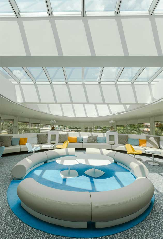 Atrium modular skylight solution in the heart of Somfy Lighthouse building, France