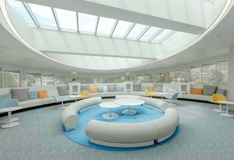 Interior view, lightwell with modular skylights, Somfy Lighthouse experience centre, France