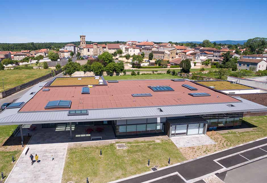 View of the roof of the VELUX solution combination on Longlight and Ridgelight modular skylights, Lezoux Media Library, France