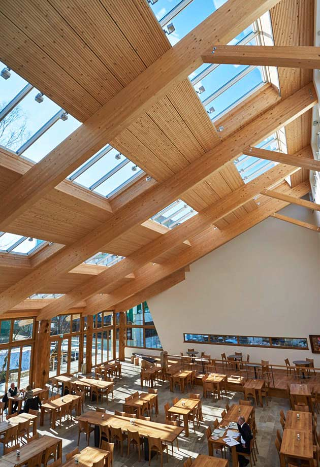 Rooflight solution with Longlight 5-30˚ module, Salus canteen interior, Germany