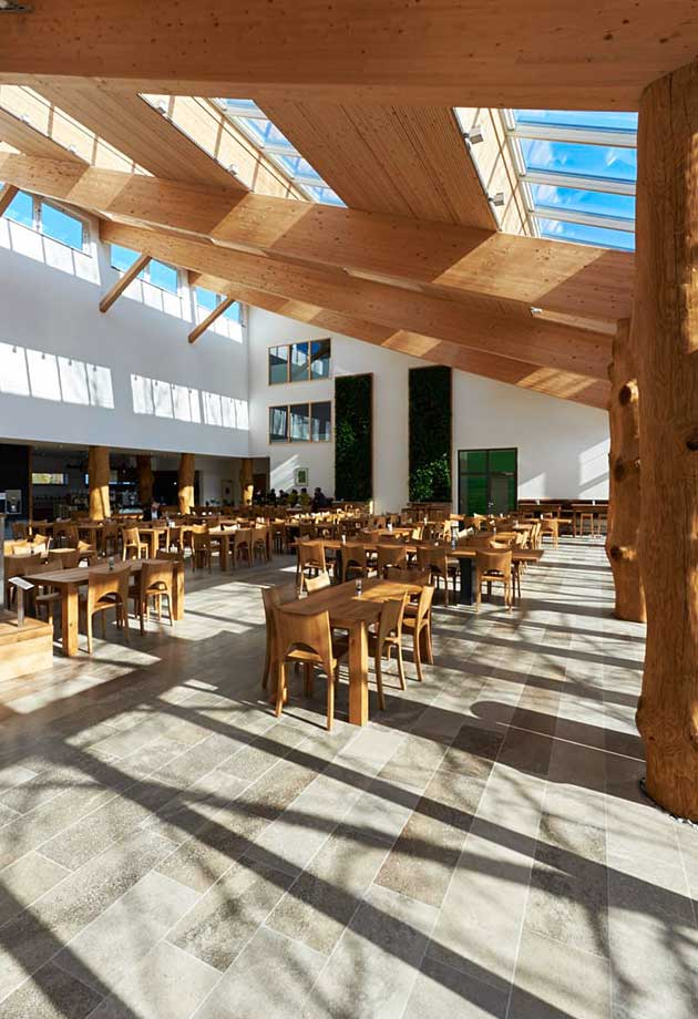 Rooflight solution with Longlight 5-30° modules, Salus canteen interior with daylight, Germany