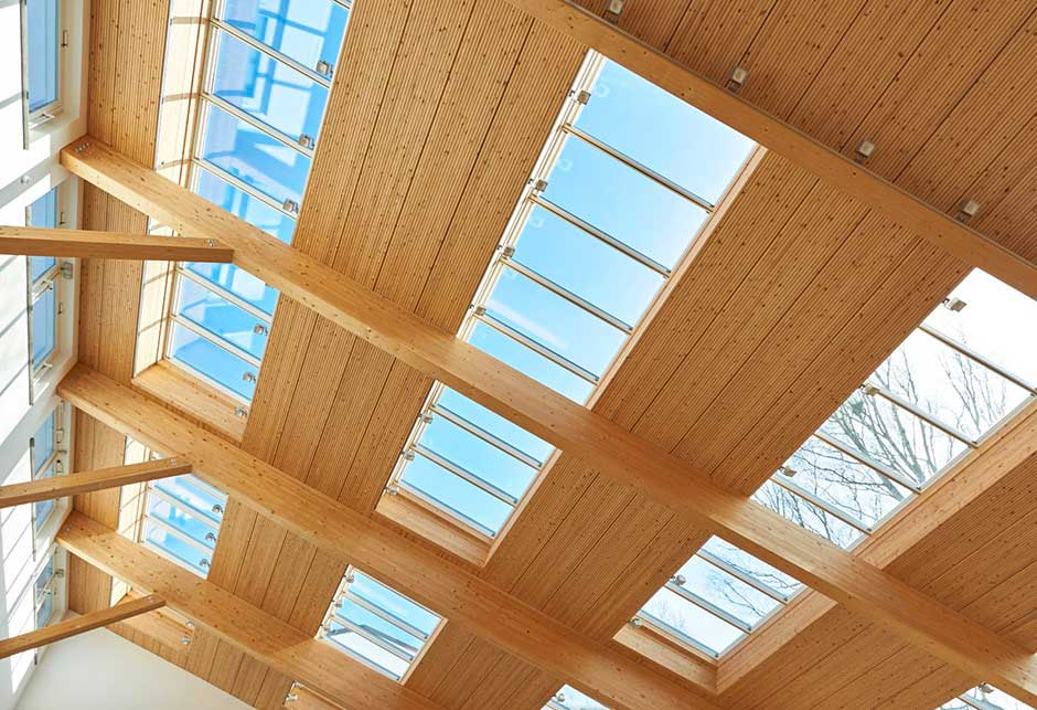 Rooflight solution with Longlight 5-30° modules, Salus canteen roofview, Germany