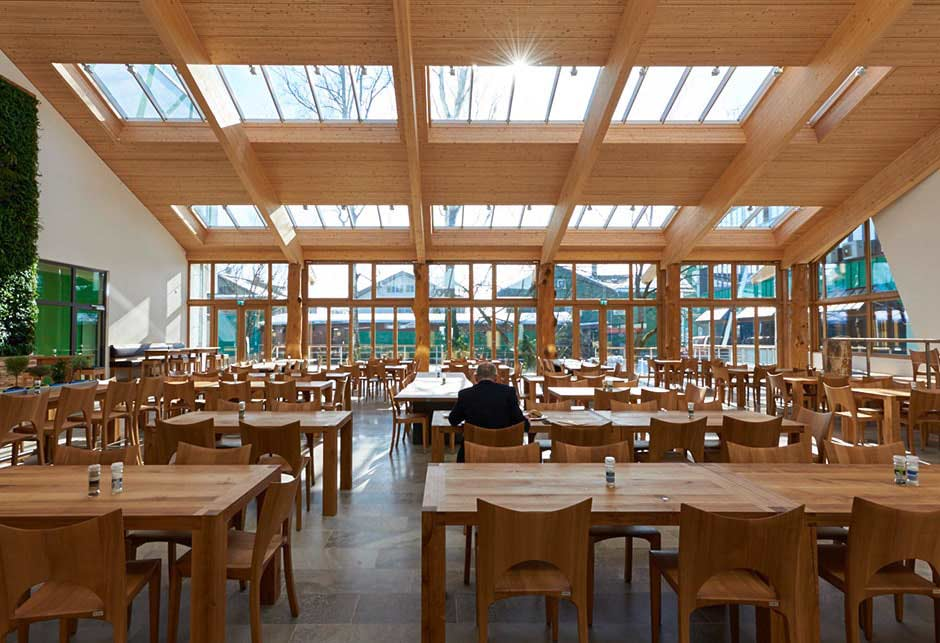 Rooflight solution with Longlight 5-30° modules, Salus canteen interior, Germany