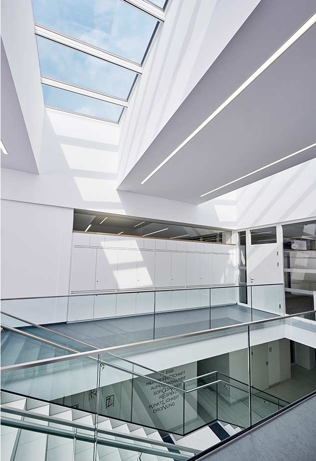 Skylight solution with Longlight 5°-30°, in corridor at new school building Ebensee, Austria