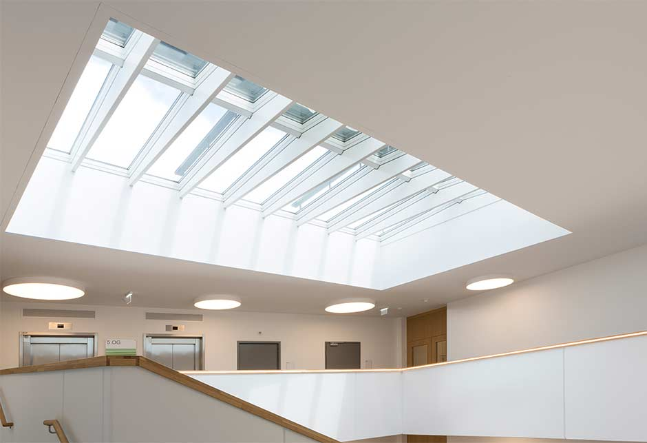 VELUX Rooflights supply daylight and fresh air to the office staircase