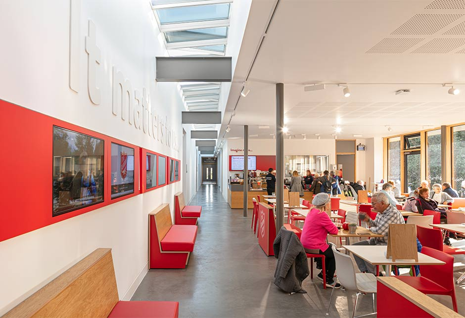 VELUX Longlight solution in café at Strawberry Field