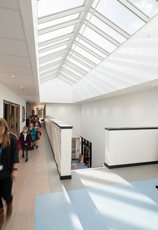 VELUX Ridgelight solution in corridor at Tullibody South Campus School