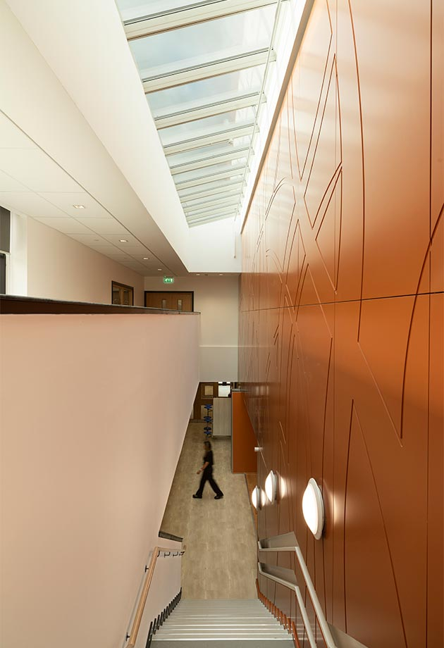 VELUX Wall-mounted Longlight at 15 degrees to maximise daylight in corridor space