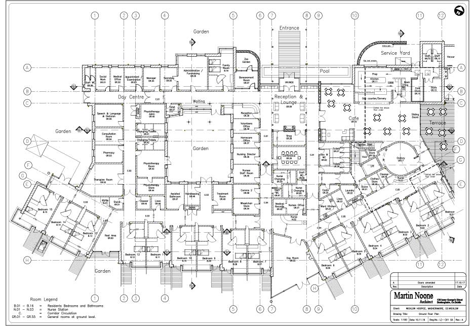 Architectural drawing - Ground floor plan - Wicklow Hospice