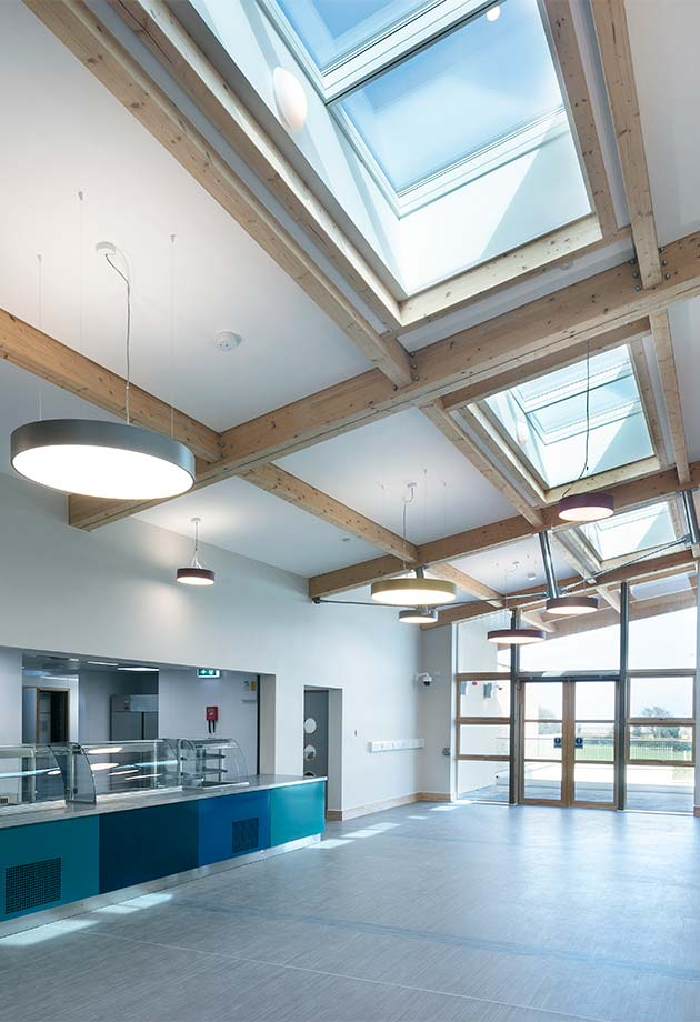 VELUX Longlight solution bringing in natural daylight to cafeteria at Wicklow Hospice