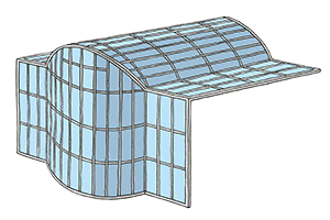 Illustration of Stick System glass solution including facade glazing