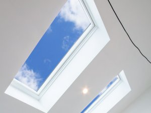 sky views from skylight in hallway in melbourne