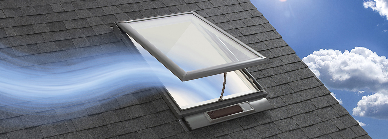 Velux solar powered venting skylight curb or deck for Velux solar skylight tax credit