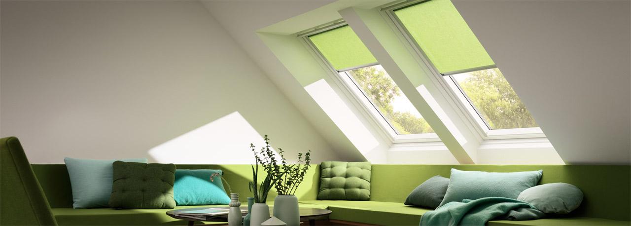 VELUX Sichtschutzrollo Duo Grün Wohnzimmer