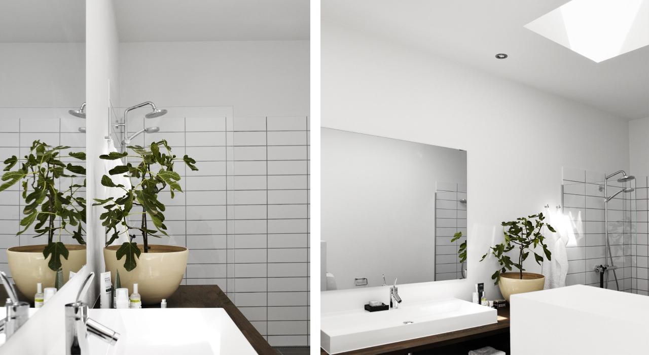 Salle de bains photos d 39 inspiration pour am nager les for Lumiere dans salle de bain sans fenetre