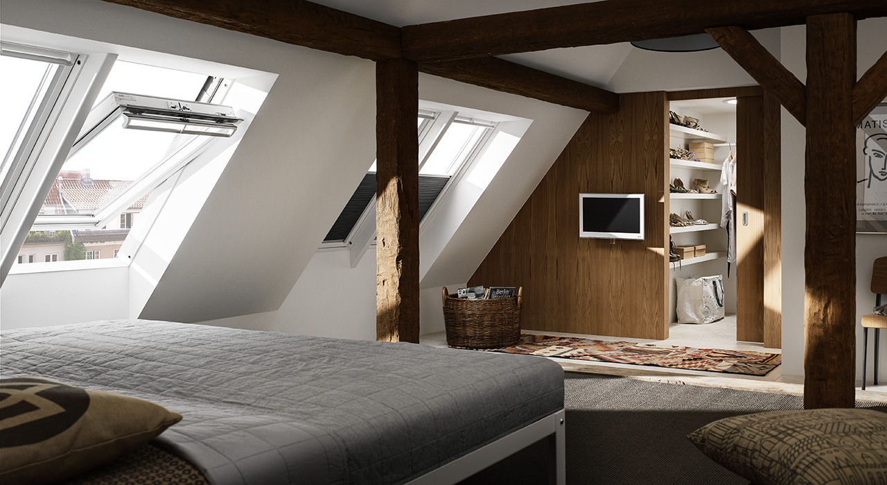 id es de chambre coucher avec des fen tres de toit velux. Black Bedroom Furniture Sets. Home Design Ideas