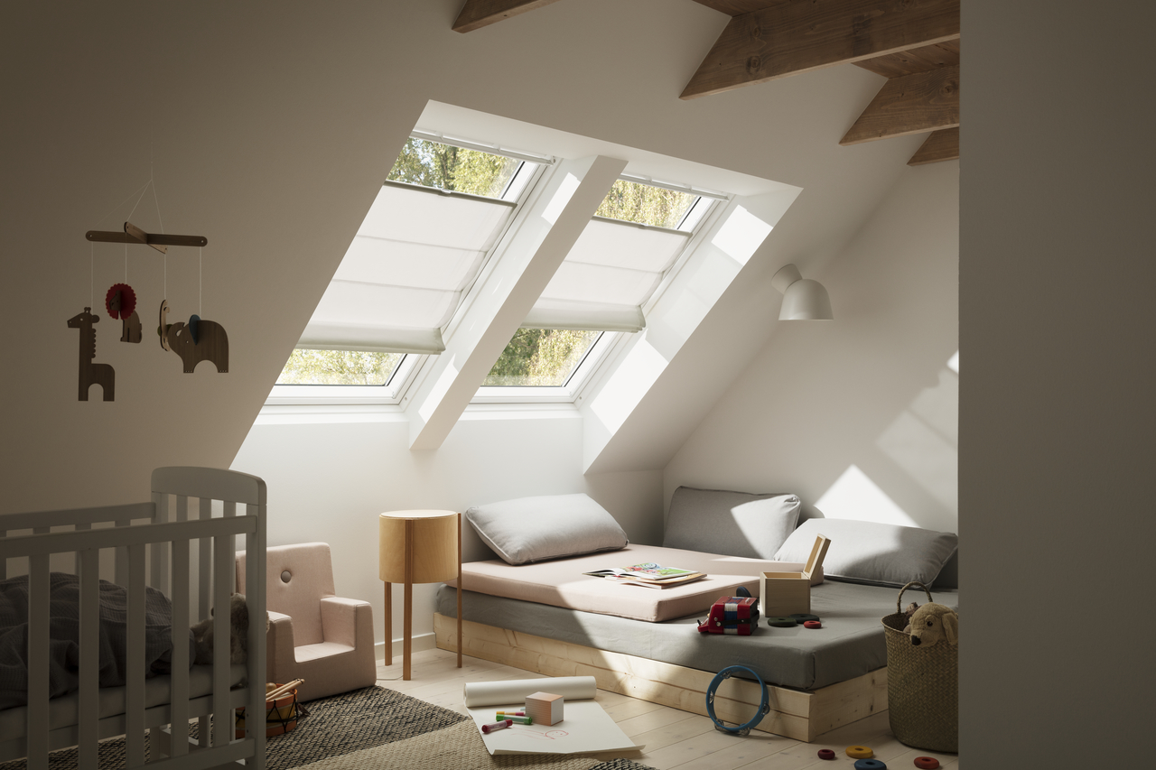 Velux roman blinds 20 soft and natural shades for Velux window shades