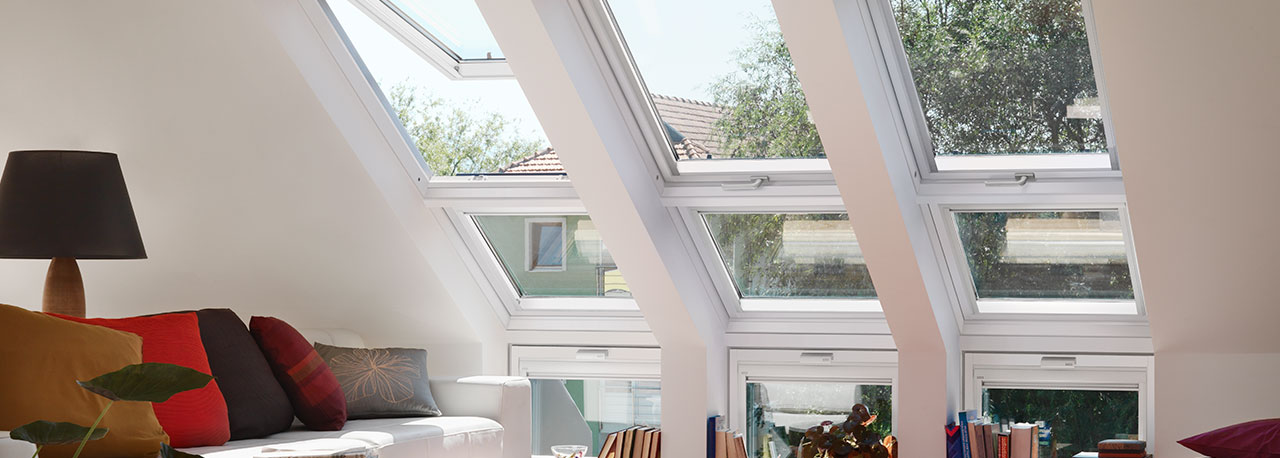 Elegant Sloping And Vertical Combination. Multiple VELUX Roof Windows ...