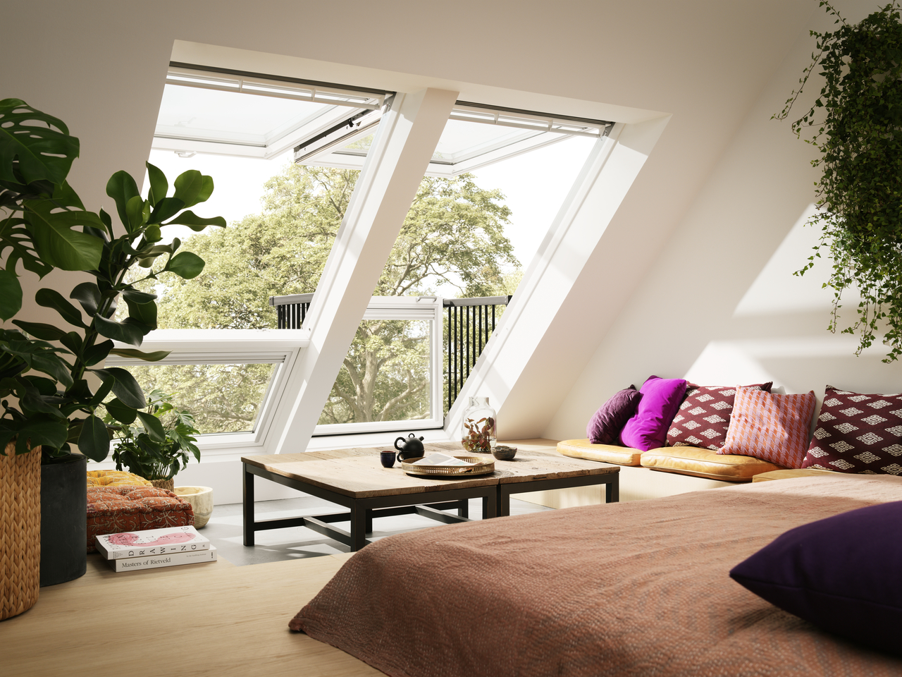 velux cabrio balcony from roof window to balcony in seconds. Black Bedroom Furniture Sets. Home Design Ideas