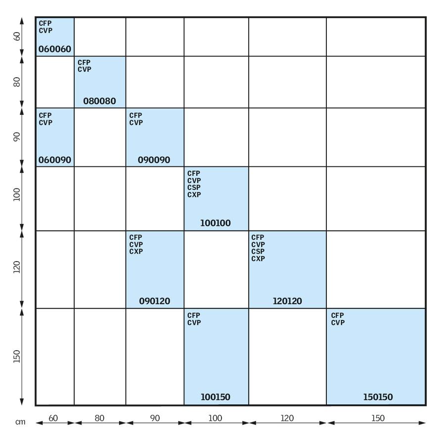 Flat roof windows size chart