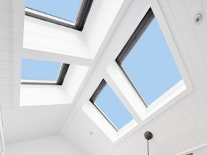 four skylights in bedroom with sky views in auckland